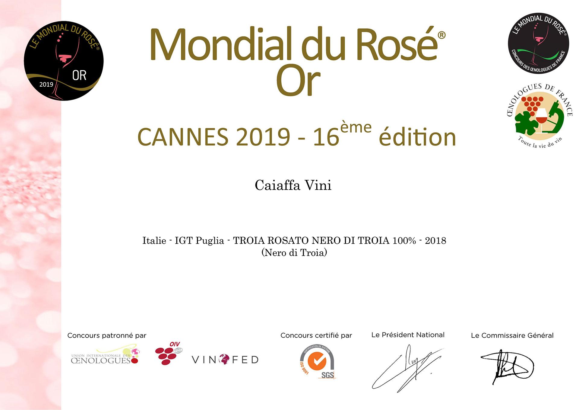 Cannes 2019 – Medaglia Oro